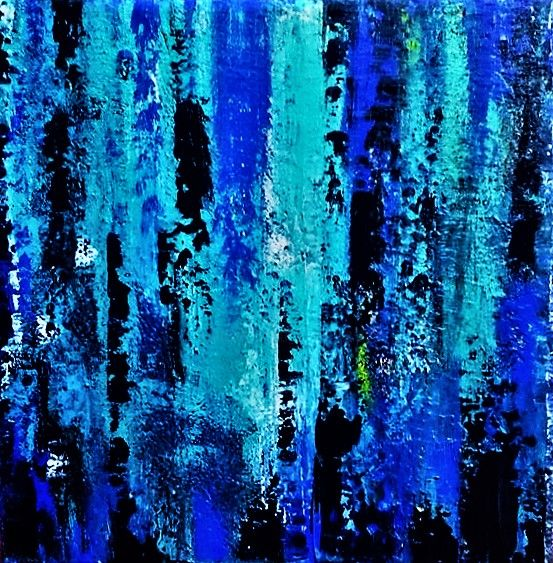 CASCADE - Painting,  50x50x3 cm ©2017 by martine gollinucci -                                                        Abstract Art, Canvas, Abstract Art