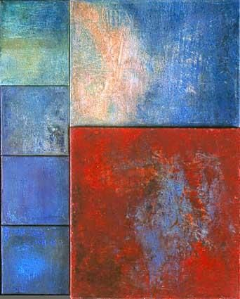 morceaux d'espaces XVIII - Painting, ©2003 by Martine Jardel -                                                              oil canvas red blue