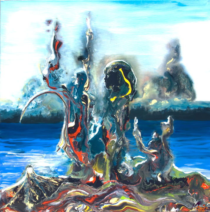 Fukushima - Painting,  39.4x39.4x0.6 in, ©2011 by M Art'In -