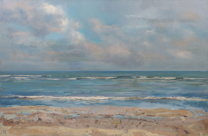 """Painting titled """"The Sea"""" by Martins Krumins, Original Art, Acrylic"""