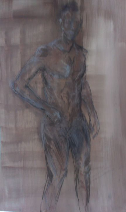 Croquis nu - Drawing, ©2014 by martins marie pascale -                                                                                                                                                                                                                                                                      Figurative, figurative-594, Nude, nu homme, grand nu homme