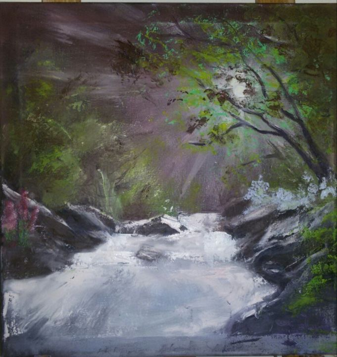 """Painting titled """"forest stream"""" by Marusha, Original Art, Oil Mounted on Stretcher frame"""