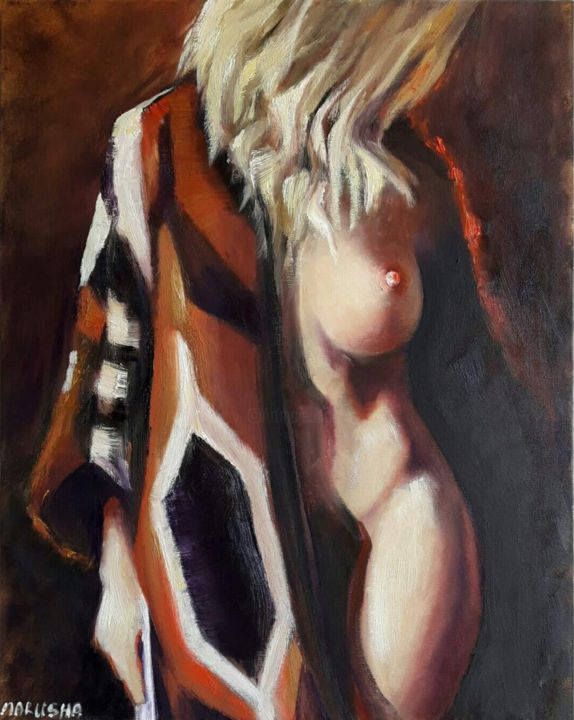 """Painting titled """"Poncho"""" by Marusha, Original Art, Oil Mounted on Stretcher frame"""