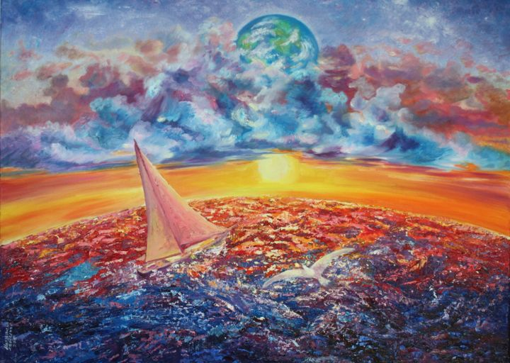 Voyage vers l'infin - Painting,  60x80x2 cm ©2009 by Marwanart -                                                            Figurative Art, Canvas, Boat, Infini, voyage, mer