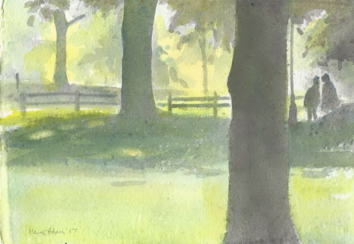 """Painting titled """"In the shade"""" by Mary Adam, Original Art, Watercolor"""