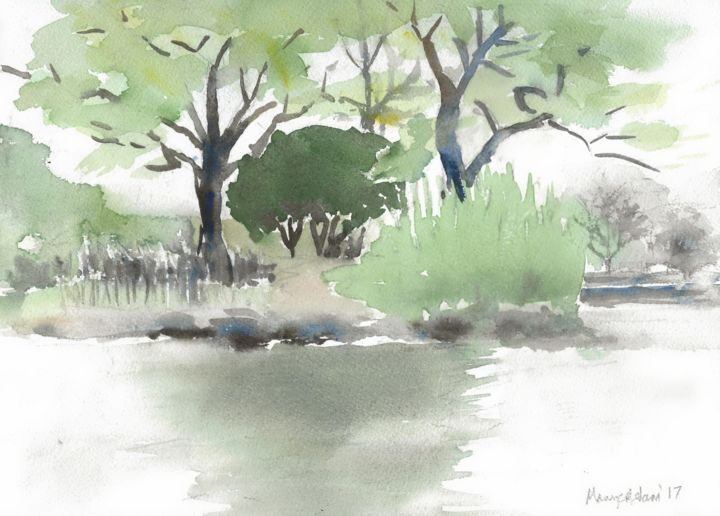 """Painting titled """"Pond in Spring"""" by Mary Adam, Original Art, Watercolor"""