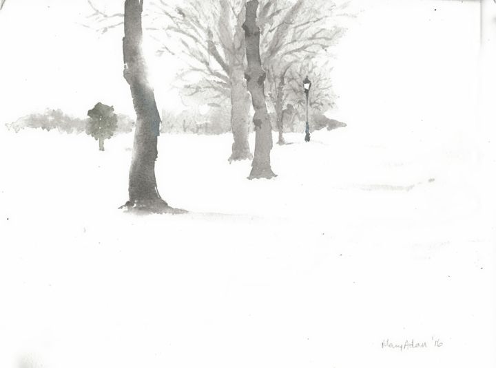 """Painting titled """"Park in Winter 1"""" by Mary Adam, Original Art, Watercolor"""