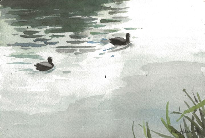 """Painting titled """"Coots"""" by Mary Adam, Original Art, Watercolor"""