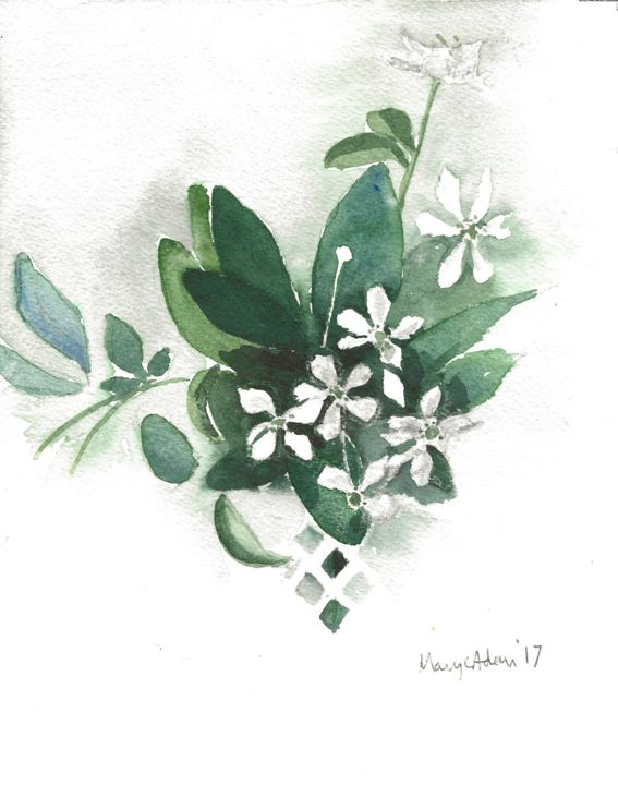 """Painting titled """"White flowers"""" by Mary Adam, Original Art, Watercolor"""