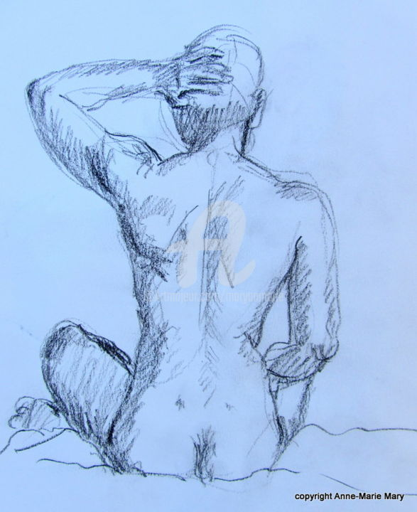 croquis Bernard (4) - Drawing ©2018 by Anne-Marie Mary -                                    Body, Nude