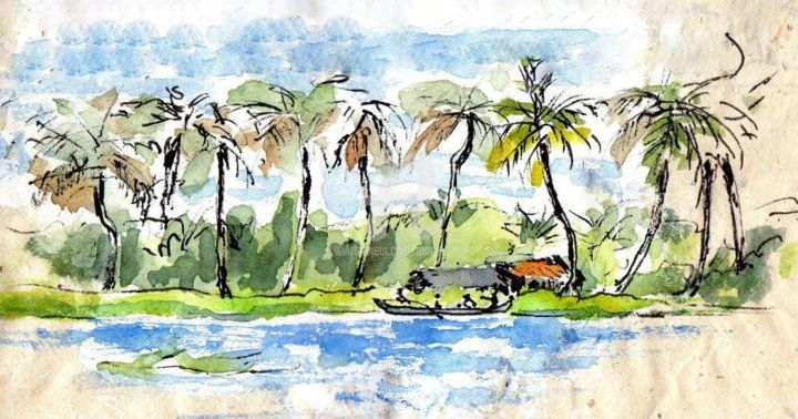 Inde du sud ( backwaters) voyage 2002 - Painting ©2018 by Anne-Marie Mary -                                                        Figurative Art, Asia, Travel, inde du sud, backwaters