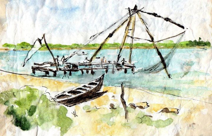 Les carrelets chinois (Cochin) - Painting ©2018 by Anne-Marie Mary -                                                        Figurative Art, Asia, Travel, carrelets chinois, Cochin, Inde du Sud