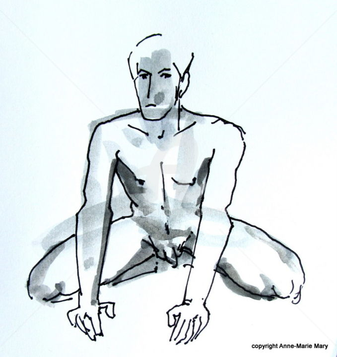 croquis Stéphane mars 2018 - Drawing ©2018 by Anne-Marie Mary -                                            Figurative Art, Nude, Nu masculin, modèle vivant
