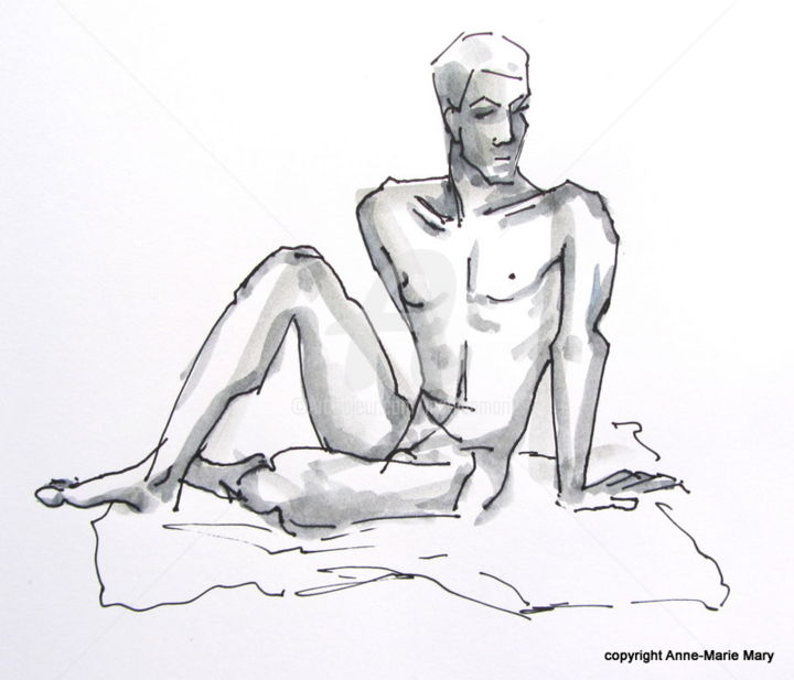 croquis Stéphane (2) - Painting ©2018 by Anne-Marie Mary -                                            Figurative Art, Nude, Nu masculin, modèle vivant