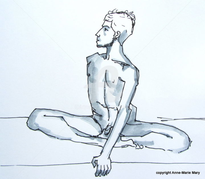 croquis Stéphane (3) - Drawing ©2018 by Anne-Marie Mary -                            Nude, nu masculin, croquis rapide, modèle vivant