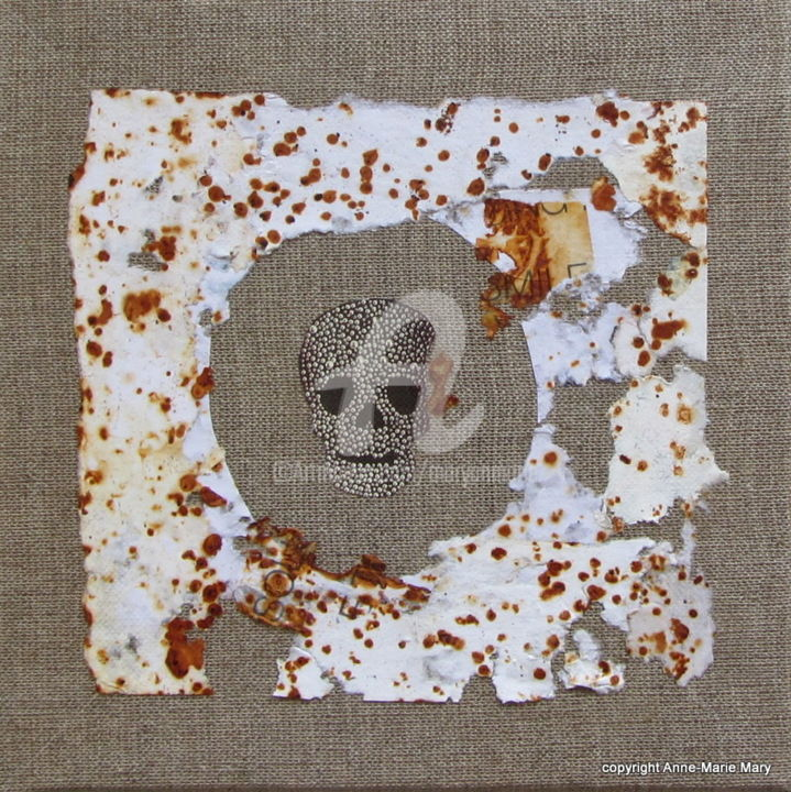 Mémoire du Temps n°57 - Mixed Media,  20x20 cm ©2019 by Anne-Marie Mary -                                                        Abstract Art, Canvas, Abstract Art