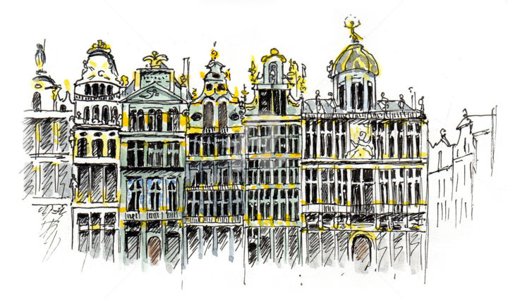 Bruxelles 3 - Drawing ©2019 by Anne-Marie Mary -                                                        Figurative Art, Architecture, Cities, croquis Bruxelles, Anne-Marie Mary, Grand-Place Bruxelles
