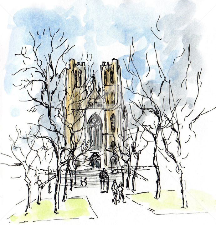 Cathédrale  Bruxelles - Drawing ©2019 by Anne-Marie Mary -                                                        Figurative Art, Architecture, Cities, croquis Bruxelles, Cathédrale Bruxelles, Anne-Marie Mary
