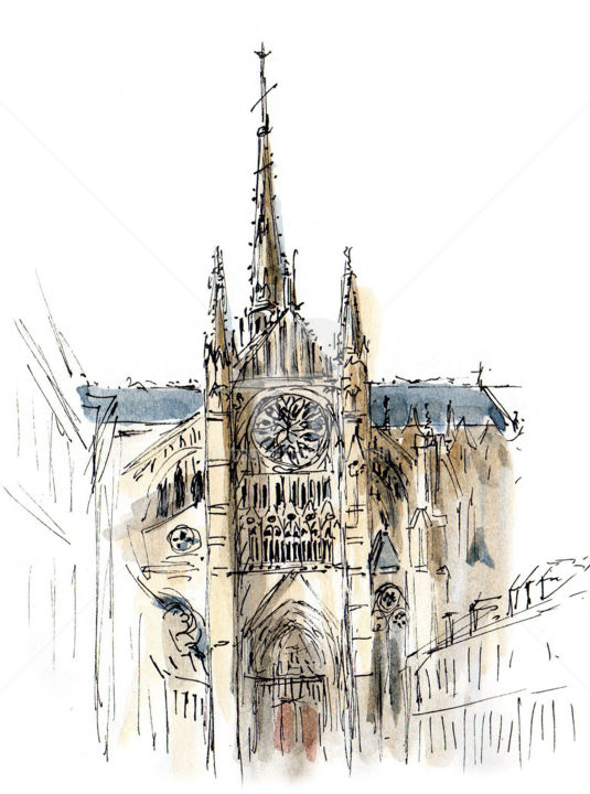 Cathédrale d'Amiens 1 - Drawing ©2019 by Anne-Marie Mary -                                            Figurative Art, Architecture, cathédrale Amiens, Anne-Marie MARY