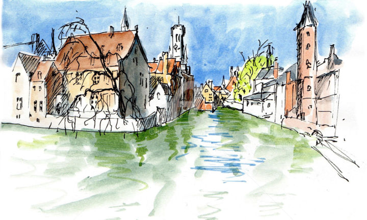 croquis Bruges 2 - Painting ©2019 by Anne-Marie Mary -                                                        Figurative Art, Architecture, Cities, Bruges, croquis Bruges, Anne-Marie MARY