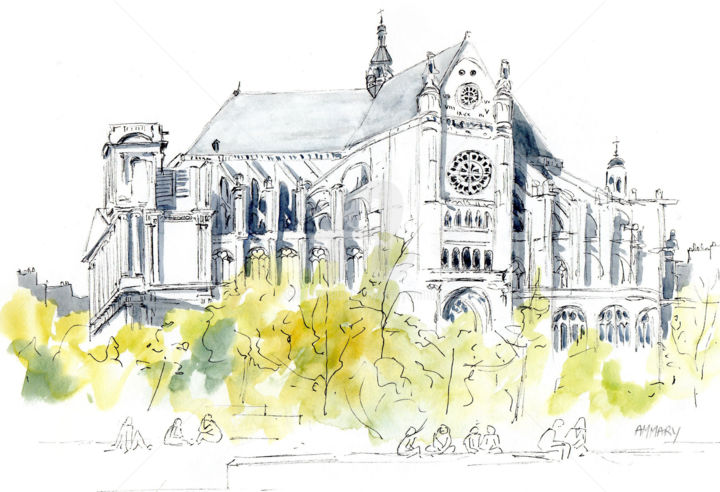 Eglise St Eustache Paris - Painting ©2014 by Anne-Marie Mary -                            Architecture, Eglise St Eustache paris, Anne-Marie MARY