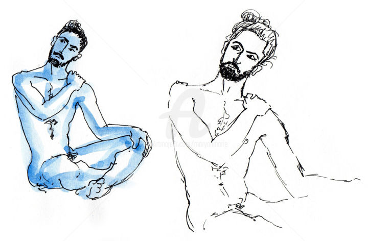 croquis Bert mars 2019 - Drawing ©2019 by Anne-Marie Mary -                                        Figurative Art, Nude