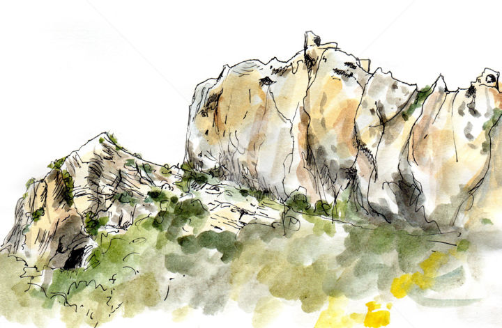 Château de Peyrepertuse 2 - Drawing ©2019 by Anne-Marie Mary -