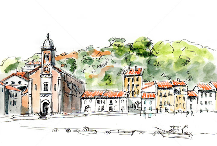 Port-Vendres - Drawing ©2019 by Anne-Marie Mary -                                            Figurative Art, Landscape, Port-Vendres, croquis Port-Vendres, Anne-Marie Mary
