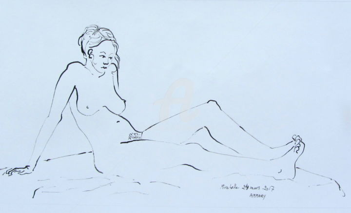 Croquis Mirabelle (1) 240317 - Drawing ©2017 by Anne-Marie Mary -                        Nude