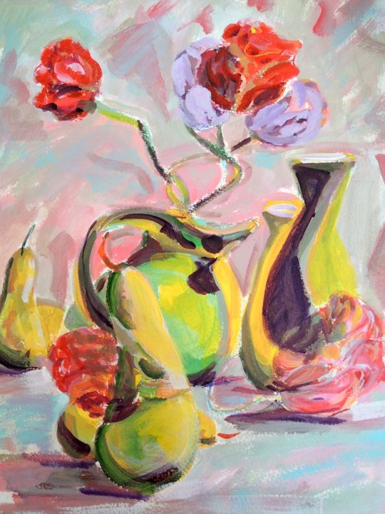 """Painting titled """"Cubist Still Life"""" by Mary Schiros, Original Art,"""