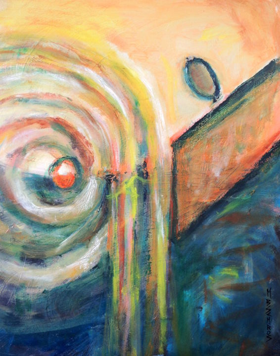 """Painting titled """"Circles and Waves"""" by Mary Schiros, Original Art, Oil"""