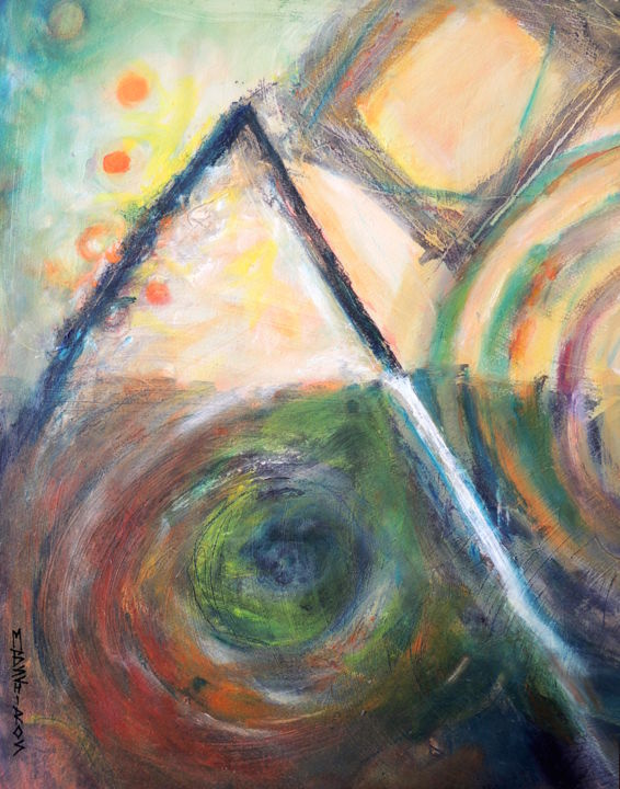 """Painting titled """"Triangles and Squar…"""" by Mary Schiros, Original Art, Oil"""