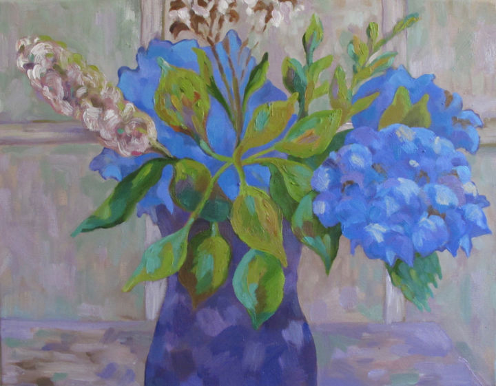 """Painting titled """"Hydrangeas"""" by Mary Downe, Original Art, Oil"""