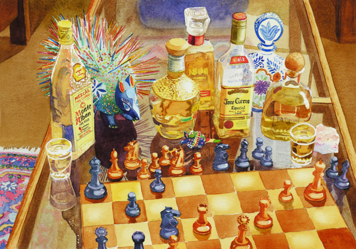 """Painting titled """"Chess and Tequila"""" by Mary Helmreich, Original Art,"""