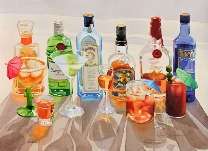 """Painting titled """"Party Time"""" by Mary Helmreich, Original Art,"""