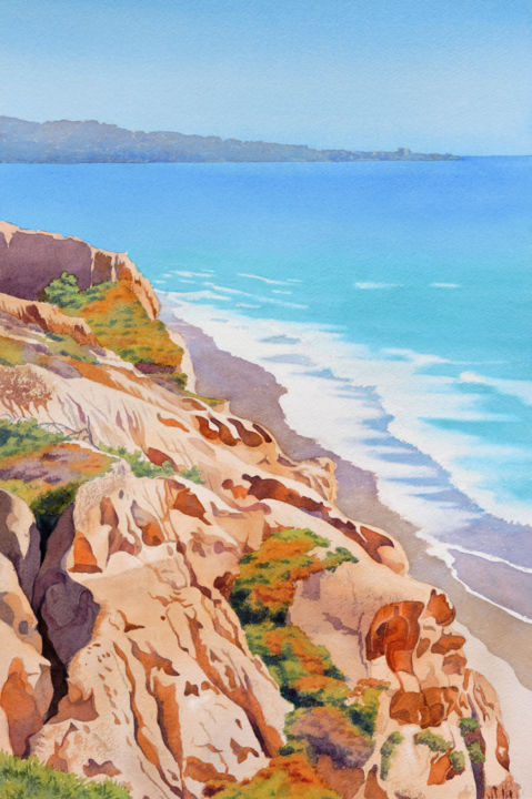 """Painting titled """"Cliffs at Torrey Pi…"""" by Mary Helmreich, Original Art,"""