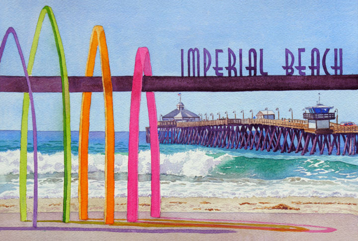 """Painting titled """"Imperial Beach Pier…"""" by Mary Helmreich, Original Art, Watercolor"""