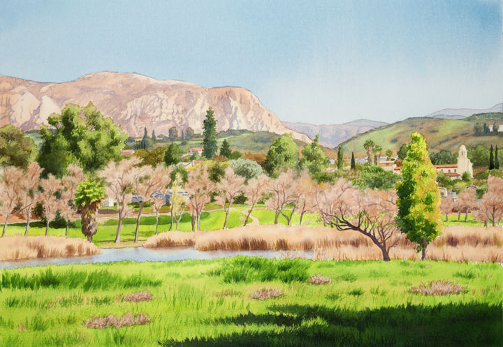 """Painting titled """"Lakeside California"""" by Mary Helmreich, Original Art, Watercolor"""