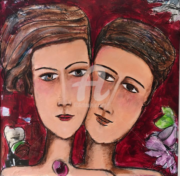 image.jpg - Painting,  50x50 cm ©2017 by Mary LARSSON -                                                            Figurative Art, Canvas, Love / Romance, couple, amour, love
