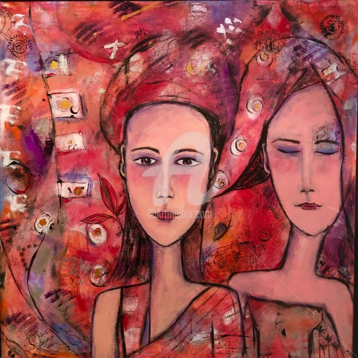 Daydreaming - Painting,  31.5x31.5 in, ©2017 by Mary Larsson -                                                                                                                                                                                                                                                                                                                                                              Figurative, figurative-594, Love / Romance, peinture intuitive, personnages, rouge, peinture rouge