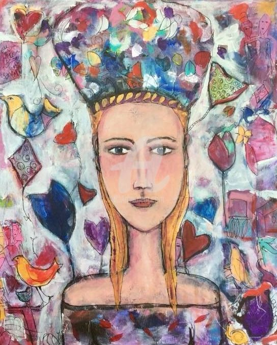 The Russian girl - Peinture,  24x19,7 in, ©2018 par Mary Larsson -
