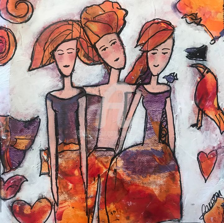 A special day - Painting,  7.9x7.9x0.4 in, ©2019 by Mary Larsson -                                                                                                                                                                                                                                                                                                                  Figurative, figurative-594, Love / Romance, amour, amities, #artistsupportpledge