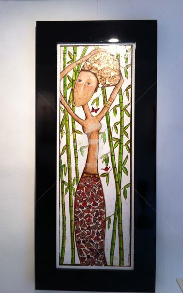 Dans les bambous - Painting,  47.2x15.8 in, ©2011 by Mary Larsson -                                                              Fille avec bambous