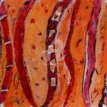 Symphonie orange - Painting,  23.6x23.6 in, ©2011 by Mary Larsson -