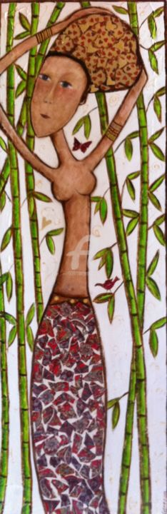 Dans les bambous - Painting,  47.2x15.8 in, ©2013 by Mary Larsson -                                                                                                                                                                                                  Inde, Asie, bambous, femmes