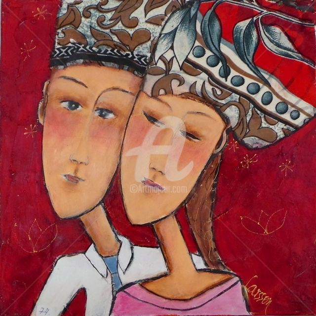 Together - Peinture,  11,8x11,8 in, ©2013 par Mary Larsson -                                                              couple