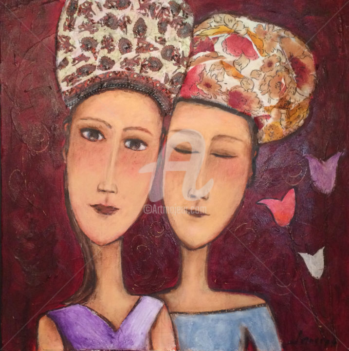 Les soeurs - Painting,  15.8x15.8 in, ©2014 by Mary Larsson -                                                                                                                                                                                                                          Figurative, figurative-594, Women, Personnages