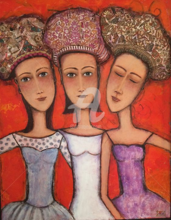 Les copines - Painting,  36.6x28.4 in, ©2015 by Mary Larsson -                                                                                                                          Figurative, figurative-594