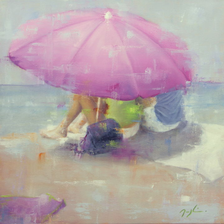 Seuls au monde - Painting,  50x50 cm ©2014 by maryline mercier -                                            Figurative Art, Beach, parasol, couple, vacances, plage, amour
