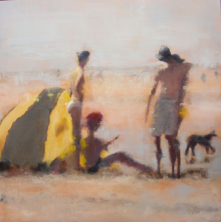 Family Holidays III - Painting,  80x80 cm ©2015 by maryline mercier -